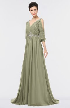 ColsBM Joyce Sponge Mature A-line V-neck Zip up Sweep Train Beaded Bridesmaid Dresses