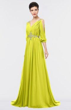 ColsBM Joyce Sulphur Spring Mature A-line V-neck Zip up Sweep Train Beaded Bridesmaid Dresses