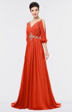 ColsBM Joyce Tangerine Tango Mature A-line V-neck Zip up Sweep Train Beaded Bridesmaid Dresses