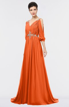 ColsBM Joyce Tangerine Mature A-line V-neck Zip up Sweep Train Beaded Bridesmaid Dresses