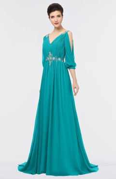 ColsBM Joyce Teal Mature A-line V-neck Zip up Sweep Train Beaded Bridesmaid Dresses