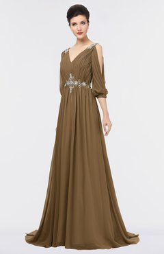 ColsBM Joyce Truffle Mature A-line V-neck Zip up Sweep Train Beaded Bridesmaid Dresses