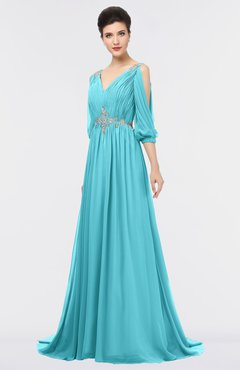 ColsBM Joyce Turquoise Mature A-line V-neck Zip up Sweep Train Beaded Bridesmaid Dresses