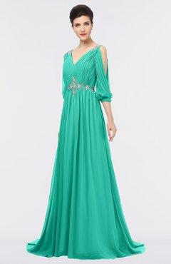 ColsBM Joyce Viridian Green Mature A-line V-neck Zip up Sweep Train Beaded Bridesmaid Dresses