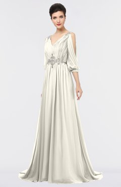 ColsBM Joyce Whisper White Mature A-line V-neck Zip up Sweep Train Beaded Bridesmaid Dresses