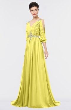 ColsBM Joyce Yellow Iris Mature A-line V-neck Zip up Sweep Train Beaded Bridesmaid Dresses