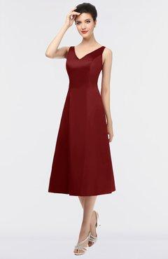 ColsBM Joanna Maroon Mature A-line V-neck Zip up Plainness Bridesmaid Dresses