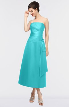e0f1a51dace Capri · ColsBM Isabella Blue Atoll Elegant A-line Bateau Sleeveless Zip up  Ruching Evening Dresses