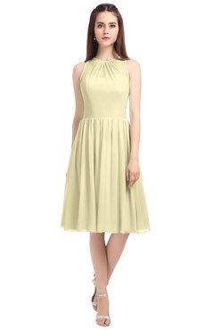 ColsBM Ivory Ivory Elegant A-line Jewel Zip up Knee Length Bridesmaid Dresses