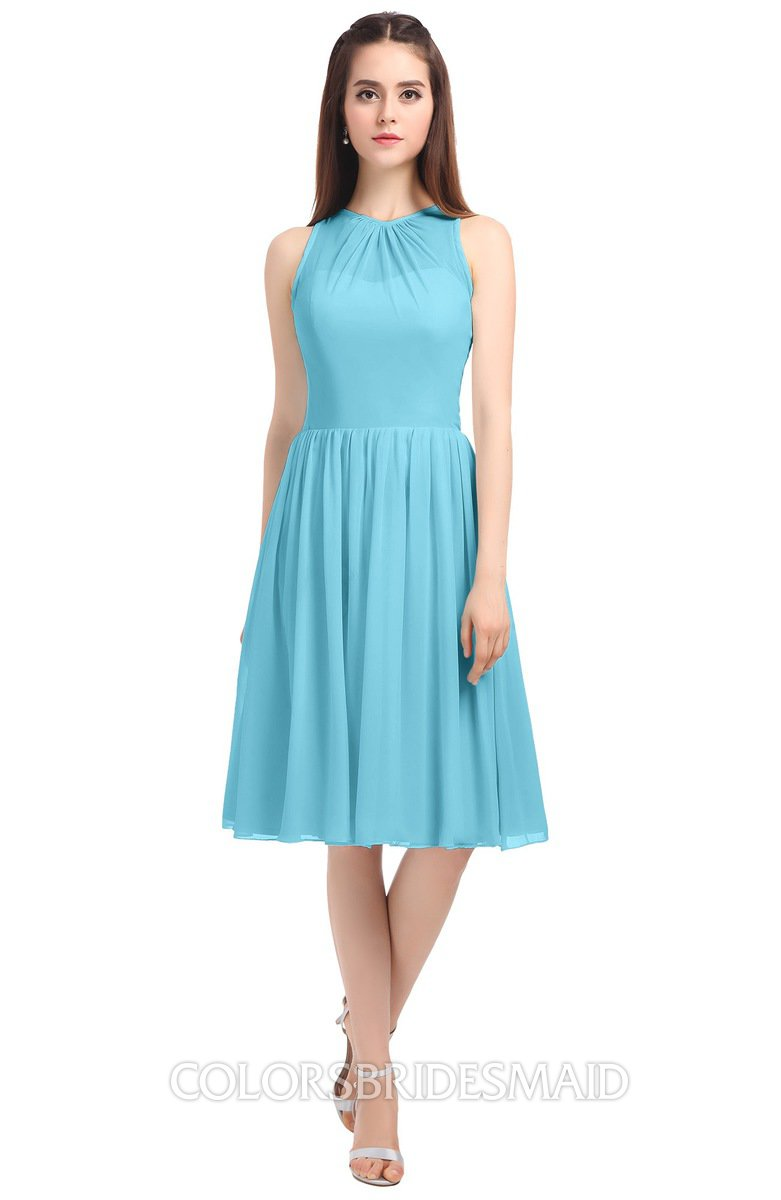 Colsbm Ivory Light Blue Elegant A Line Jewel Zip Up Knee Length Bridesmaid Dresses