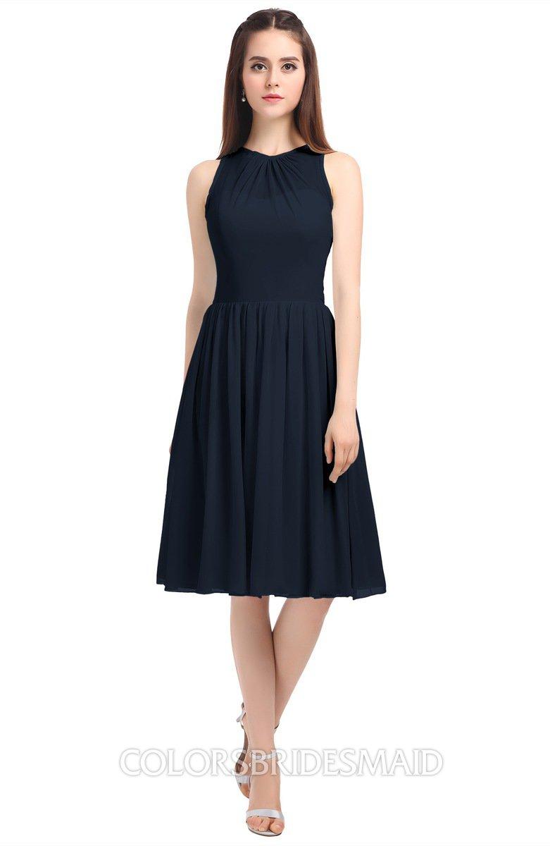 Navy blue elegant a line jewel zip up knee length bridesmaid elegant a line jewel zip up knee length bridesmaid dresses ombrellifo Gallery