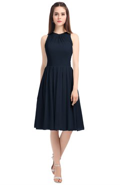 ColsBM Ivory Navy Blue Elegant A-line Jewel Zip up Knee Length Bridesmaid Dresses