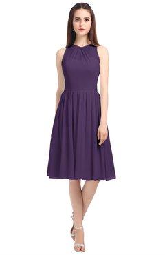 ColsBM Ivory Violet Elegant A-line Jewel Zip up Knee Length Bridesmaid Dresses
