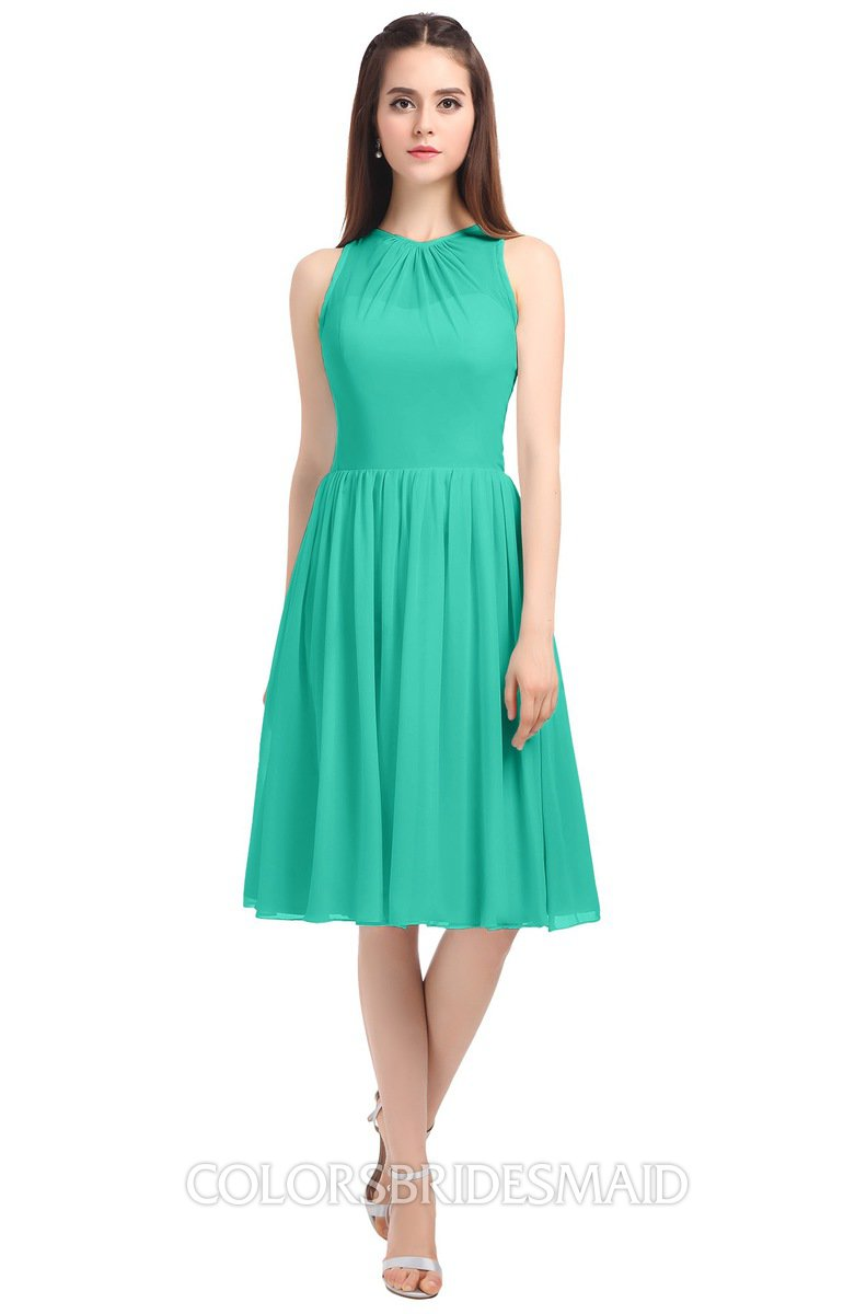 c6adb415b2 ColsBM Ivory Viridian Green Elegant A-line Jewel Zip up Knee Length  Bridesmaid Dresses