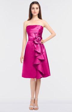 98e7fffca903 ColsBM Elora Hot Pink Glamorous Sleeveless Zip up Knee Length Flower  Bridesmaid Dresses