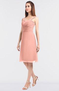 45c5c9d660f ColsBM Kyla Peach Simple A-line Spaghetti Sleeveless Knee Length Ruching Bridesmaid  Dresses