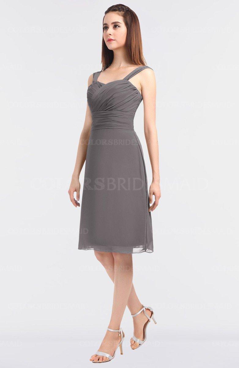 6ffdf291f0f6 ColsBM Kyla Ridge Grey Simple A-line Spaghetti Sleeveless Knee Length  Ruching Bridesmaid Dresses