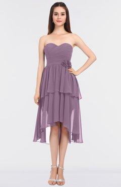 6bf7f3dca6a0 ColsBM Sharon Mauve Elegant A-line Strapless Sleeveless Zip up Knee Length  Bridesmaid Dresses