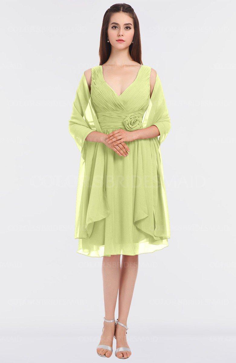 ea01c022577e ColsBM Adriana Lime Green Mature V-neck Sleeveless Zip up Knee Length Bridesmaid  Dresses