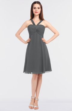 c596fc16bd3 ColsBM Jessica Grey Modern Spaghetti Sleeveless Zip up Knee Length Ruching  Bridesmaid Dresses