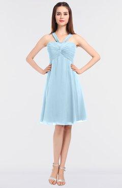 0514b722b75 ColsBM Jessica Ice Blue Modern Spaghetti Sleeveless Zip up Knee Length  Ruching Bridesmaid Dresses