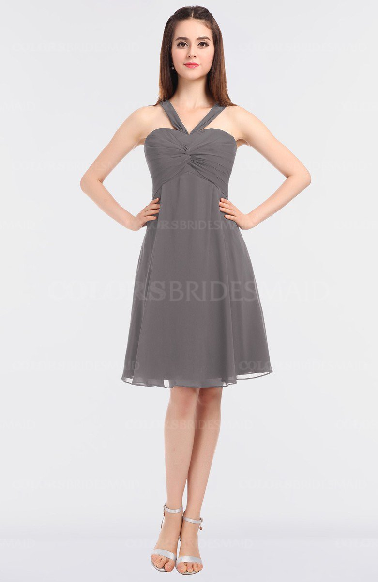 9ab938691b3b ColsBM Jessica Ridge Grey Modern Spaghetti Sleeveless Zip up Knee Length  Ruching Bridesmaid Dresses