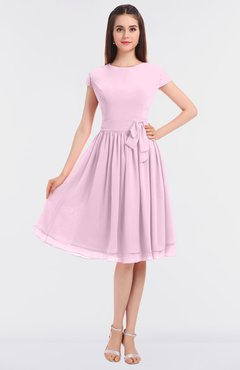 ColsBM Bella Baby Pink Modest A-line Short Sleeve Zip up Flower Bridesmaid Dresses