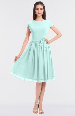 ColsBM Bella Blue Glass Modest A-line Short Sleeve Zip up Flower Bridesmaid Dresses