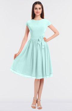 ColsBM Bella Blue Glass Modest A-line Short Sleeve Zip up Flower Bridesmaid Dresses