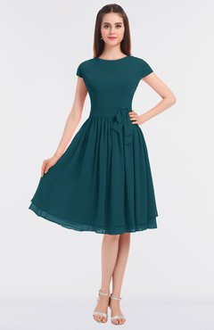 ColsBM Bella Blue Green Modest A-line Short Sleeve Zip up Flower Bridesmaid Dresses