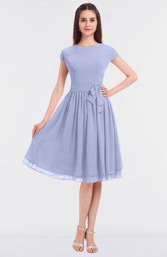 ColsBM Bella Blue Heron Modest A-line Short Sleeve Zip up Flower Bridesmaid Dresses