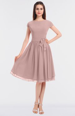 ColsBM Bella Bridal Rose Modest A-line Short Sleeve Zip up Flower Bridesmaid Dresses