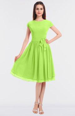 ColsBM Bella Bright Green Modest A-line Short Sleeve Zip up Flower Bridesmaid Dresses