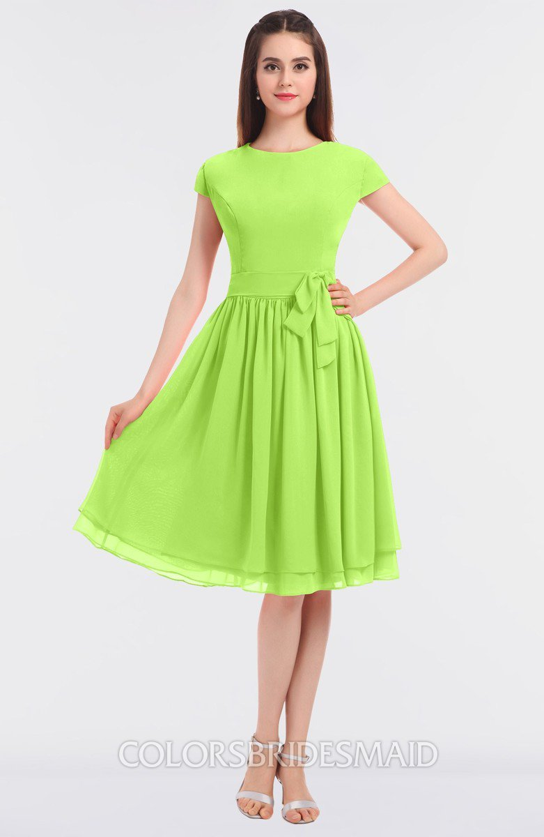 Modest a line short sleeve zip up flower bridesmaid dresses all bright green ombrellifo Images