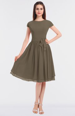 ColsBM Bella Carafe Brown Modest A-line Short Sleeve Zip up Flower Bridesmaid Dresses