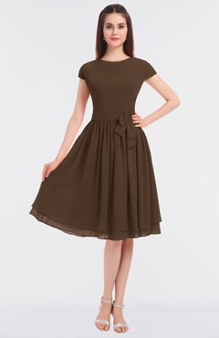 ColsBM Bella Chocolate Brown Modest A-line Short Sleeve Zip up Flower Bridesmaid Dresses