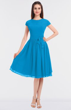 ColsBM Bella Cornflower Blue Modest A-line Short Sleeve Zip up Flower Bridesmaid Dresses