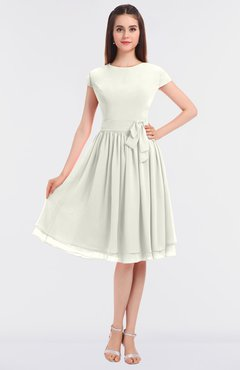 ColsBM Bella Cream Modest A-line Short Sleeve Zip up Flower Bridesmaid Dresses