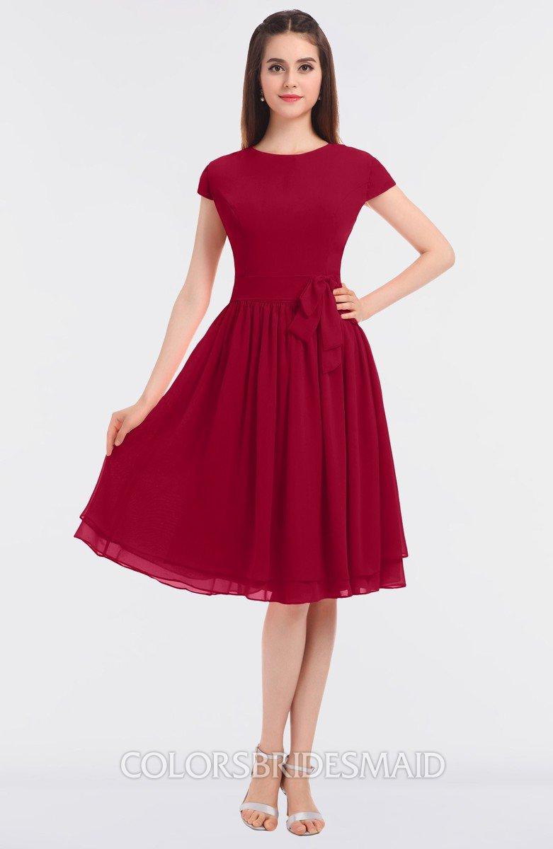 131259c60c ColsBM Bella Dark Red Modest A-line Short Sleeve Zip up Flower Bridesmaid  Dresses