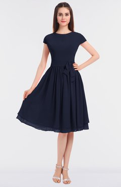 ColsBM Bella Dark Sapphire Modest A-line Short Sleeve Zip up Flower Bridesmaid Dresses