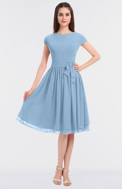 ColsBM Bella Dusty Blue Modest A-line Short Sleeve Zip up Flower Bridesmaid Dresses