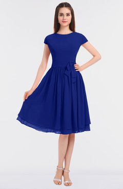 ColsBM Bella Electric Blue Modest A-line Short Sleeve Zip up Flower Bridesmaid Dresses