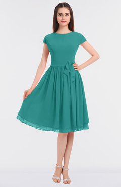 ColsBM Bella Emerald Green Modest A-line Short Sleeve Zip up Flower Bridesmaid Dresses