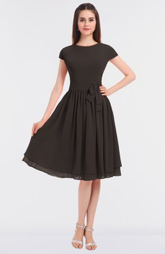 ColsBM Bella Fudge Brown Modest A-line Short Sleeve Zip up Flower Bridesmaid Dresses