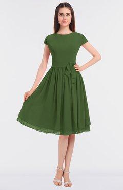 ColsBM Bella Garden Green Modest A-line Short Sleeve Zip up Flower Bridesmaid Dresses
