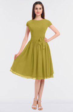 ColsBM Bella Golden Olive Modest A-line Short Sleeve Zip up Flower Bridesmaid Dresses