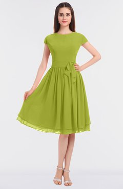 ColsBM Bella Green Oasis Modest A-line Short Sleeve Zip up Flower Bridesmaid Dresses