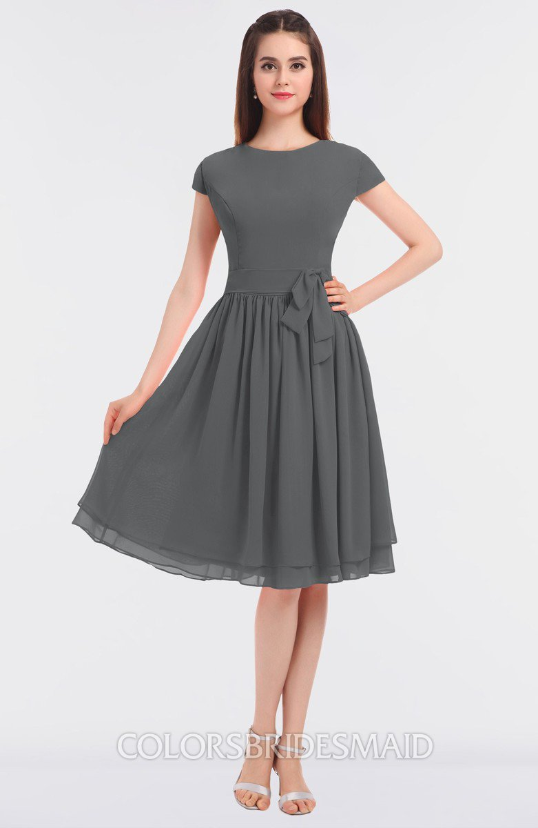 4c2c3a56b18 ColsBM Bella Grey Modest A-line Short Sleeve Zip up Flower Bridesmaid  Dresses