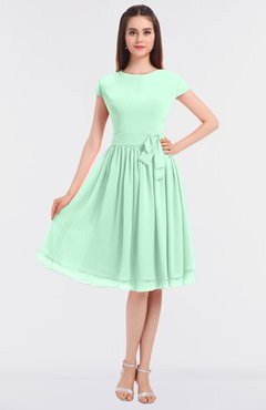 ColsBM Bella Honeydew Modest A-line Short Sleeve Zip up Flower Bridesmaid Dresses