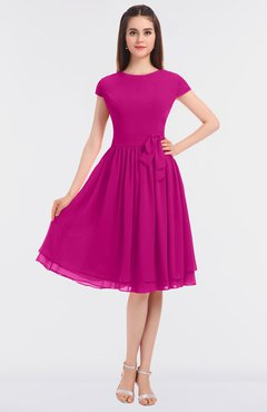 ColsBM Bella Hot Pink Modest A-line Short Sleeve Zip up Flower Bridesmaid Dresses